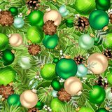 Christmas green seamless background with balls and fir-tree branches. Vector illustration. Vector Christmas seamless background with green balls, fir-tree Royalty Free Stock Image
