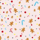 Vector Christmas seamless background with snowmen, stockings, Santa hats, holly, boxes, cookies, oranges, snowballs, candy canes a royalty free illustration
