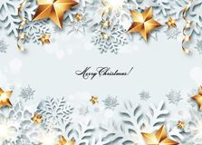 Vector Christmas seamless banner. With 3d snowflakes and golden stars stock illustration