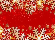 Vector Christmas seamless banner. With 3d snowflakes with shadows vector illustration