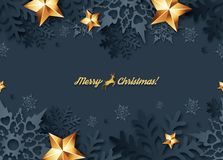 Vector Christmas seamless banner. With 3d snowflakes with shadows royalty free illustration