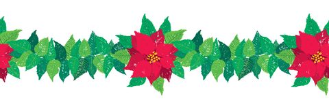 Vector Christmas seamless garland border with red Poinsettia flowers and green leaves. royalty free illustration