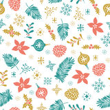 Vector christmas seamless pattern with christmas elements on the white background. Christmas seamless pattern. Template for greeting scrap booking royalty free illustration