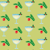 Vector Christmas seamless pattern with glasses of champagne and Royalty Free Stock Images