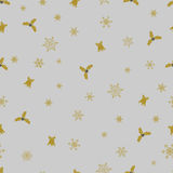 Vector Christmas seamless pattern from golden snowflakes, bells and berry on grey background. Stock Photo