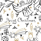 Vector Christmas seamless pattern. Hand drawn background. Vector Christmas seamless pattern. Holiday hand drawn background. Ink illustration. Elements of Royalty Free Stock Photos
