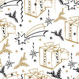 Vector Christmas seamless pattern. Hand drawn background. Vector Christmas seamless pattern. Holiday hand drawn background. Ink illustration. Elements of Stock Image