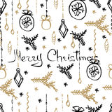 Vector Christmas seamless pattern. Hand drawn background. Vector Christmas seamless pattern. Holiday hand drawn background. Ink illustration. Elements of Stock Photos