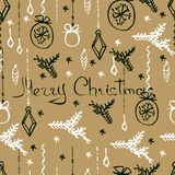 Vector Christmas seamless pattern. Hand drawn background. Vector Christmas seamless pattern. Holiday hand drawn background. Ink illustration. Elements of Stock Photo