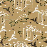 Vector Christmas seamless pattern. Hand drawn background. Vector Christmas seamless pattern. Holiday hand drawn background. Ink illustration. Elements of Royalty Free Stock Photography