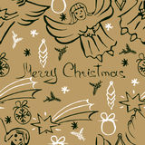 Vector Christmas seamless pattern. Hand drawn background. Vector Christmas seamless pattern. Holiday hand drawn background. Ink illustration. Elements of stock illustration