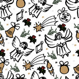Vector Christmas seamless pattern. hand drawn background. Vector Christmas seamless pattern. Holiday hand drawn background. Ink illustration. Elements of vector illustration