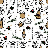 Vector Christmas seamless pattern. hand drawn background. Vector Christmas seamless pattern. Holiday hand drawn background. Ink illustration. Elements of Royalty Free Stock Images