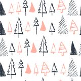 Vector Christmas seamless pattern with hand drawn xmas fir trees different shapes and snowflakes sketch elements isolated on white. Background. Perfect for royalty free illustration
