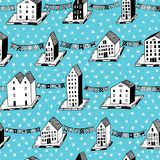 Vector christmas seamless pattern with houses and ornaments. Can be printed and used as wrapping paper, wallpaper Royalty Free Stock Images