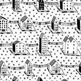 Vector christmas seamless pattern with houses and ornaments. Can be printed and used as wrapping paper, wallpaper. Vector christmas seamless pattern with hand Royalty Free Stock Photography