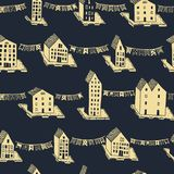 Vector christmas seamless pattern with houses and ornaments. Can be printed and used as wrapping paper, wallpaper Royalty Free Stock Photos