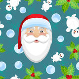 Vector Christmas seamless pattern with Santa Claus vector illustration