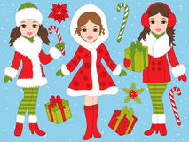 Vector Christmas Set with Beautiful Girls and Xmas Gifts Royalty Free Stock Image