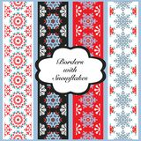 Vector Christmas Set of Borders with Snowflakes. Holiday festive ribbons illustration Stock Photos