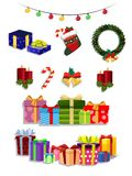 Vector Christmas set of cute cartoon festive attributes on white background royalty free illustration