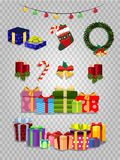 Vector Christmas set of cute cartoon festive attributes on transparent background stock illustration