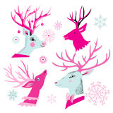 Vector christmas set of deer heads. Isolated on white background Royalty Free Stock Images