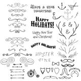 Vector Christmas set of holidays lettering and Stock Image