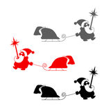 Vector christmas set. Silhouette of Santa Claus with sledge  Royalty Free Stock Photo
