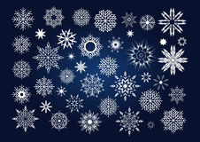 Vector Christmas set of snowflakes and stars Stock Image