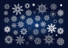 Vector Christmas set of snowflakes and stars Royalty Free Stock Photography