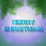 Vector Christmas shining present card. With text Merry Christmas on it Stock Photography