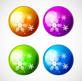 Vector Christmas shiny buttons with snowflakes Stock Images