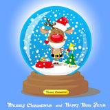 Vector Christmas Snow Globe:  deer in santa hat and beard with big bag gifts on blue gradient background Stock Photos