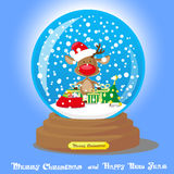 Vector Christmas Snow Globe:  deer in santa hat with big bag gifts on blue gradient background Royalty Free Stock Photos