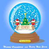 Vector Christmas Snow Globe:  two funny deer in santa hat with scroll and christmas tree on blue gradient background Royalty Free Stock Images