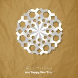 Vector Christmas snowflake paper on a crumpled paper brown background. royalty free stock photography