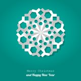 vector Christmas snowflake paper on a turquoise background. royalty free stock images