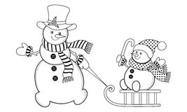 Vector Christmas Snowman Royalty Free Stock Photography