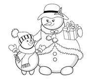 Vector Christmas Snowmen Stock Images