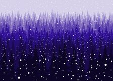 Vector Christmas snowy winter Coniferous forest background, pine trees silhouette template. stock illustration