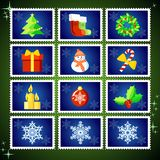Vector Christmas Stamps Royalty Free Stock Photo