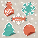 Vector Christmas Sticker Tags - Sale Stock Photos