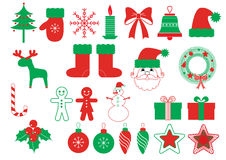 Vector christmas symbols .Red green   elements. Vector christmas symbols .Color elements on white Royalty Free Stock Image