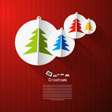 Vector Christmas Theme. Colorful Paper Trees on Red Cardboard Paper Background Royalty Free Stock Image