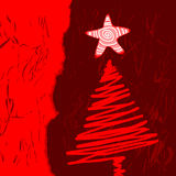 Vector christmas tree. Stylized, with place for text Royalty Free Stock Photography