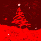 Vector christmas tree. Stylized, with place for text, night Vector Illustration