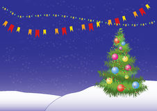 Vector christmas tree background. Christmas background: decorated tree, snow Royalty Free Stock Photo