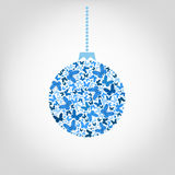 Vector Christmas tree ball from blue butterfly. Christmas Stock Image