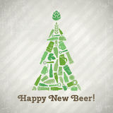 Vector christmas tree beer poster. Royalty Free Stock Photography